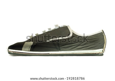 cross section of a canvas shoe - stock photo