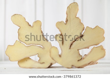 Cross section of a ginger root. Shallow dof - stock photo