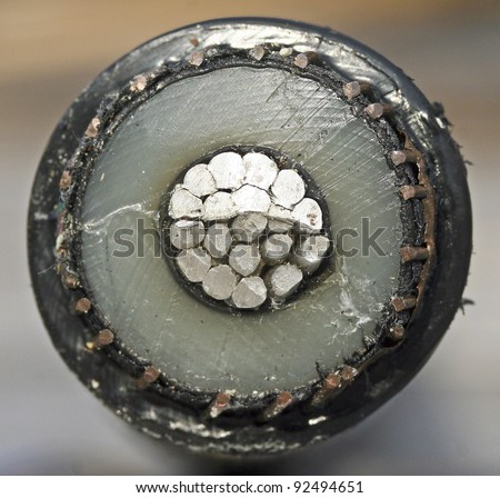 Cross section of a power cable - stock photo