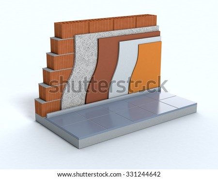 cross-section of a wall. All the layers are visible. thermal insulation (3d render)