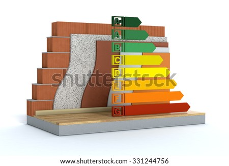 cross-section of a wall. All the layers are visible. thermal insulation. energy efficiency scale, concept of energy saving (3d render) - stock photo