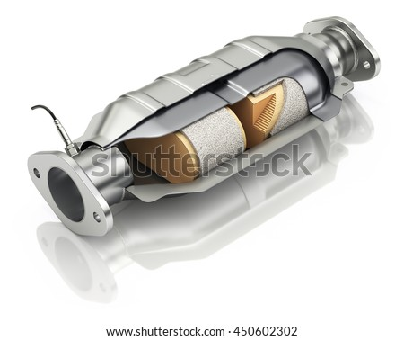 Cross section of catalytic converter with sensor flue gas - 3D illustration - stock photo