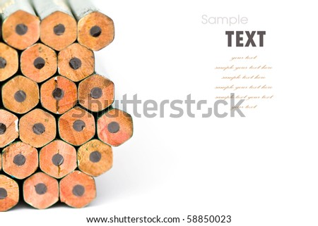 Cross section of pencils isolated on the white background - stock photo