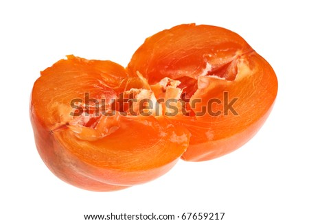 Cross-section of persimmon fruit isolated on white