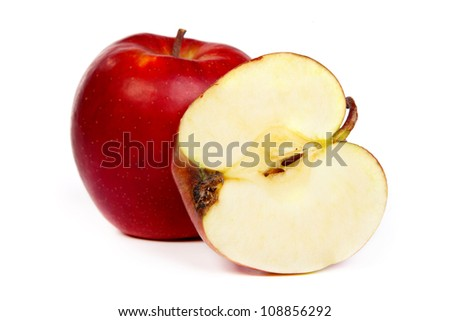 Cross section of red apple, showing pips, and core. Isolated on white, - stock photo