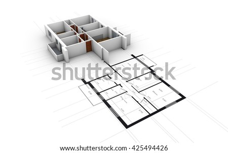 Cross-section of residential house over blueprints. 3D rendering - stock photo