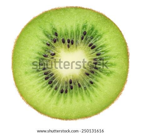 Cross section of ripe kiwi isolated on white background - stock photo