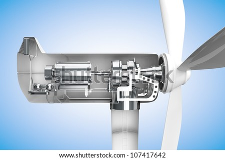 Cross-section of windmill showing generator in 3D - stock photo