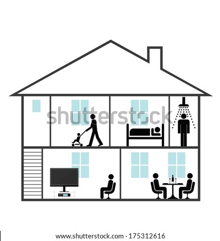 Cross section through a family home isolated on white background - stock photo