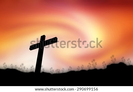 Cross silhouette sunset background.