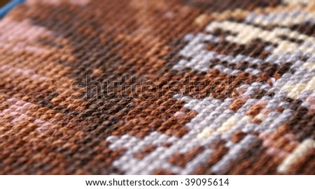 Cross-stitch background texture, a horizontal picture - stock photo
