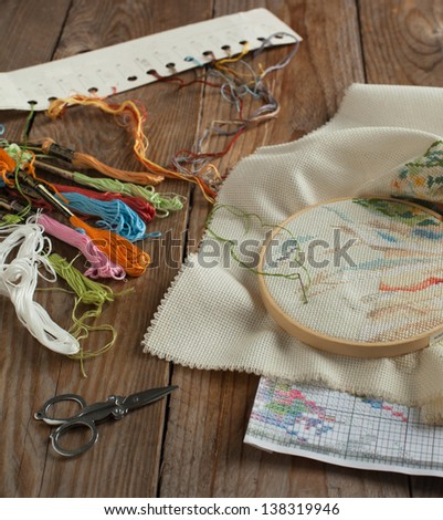 Cross-stitch set: color palette, threads, canvas with embroider - stock photo
