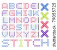 Cross Stitched Fonts - stock vector