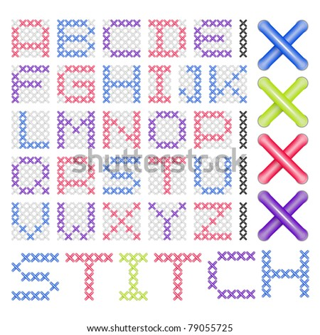 Cross Stitched Fonts - stock photo