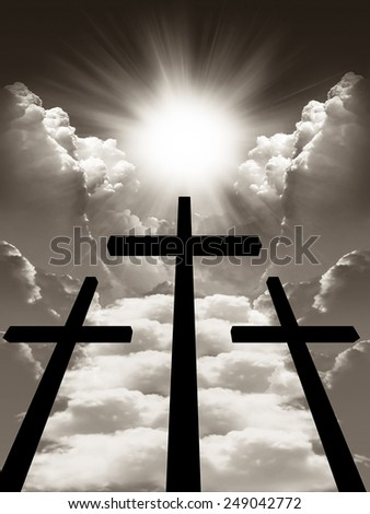 Cross with crucifix against the sky. black and white - stock photo