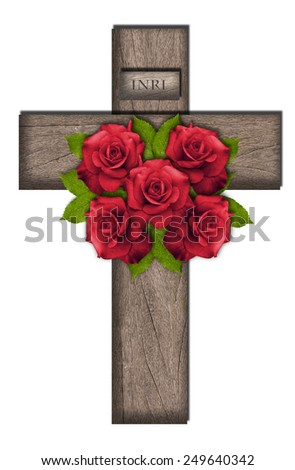 Cross with INRI inscription and five red roses symbolizing Jesus five wounds - stock photo
