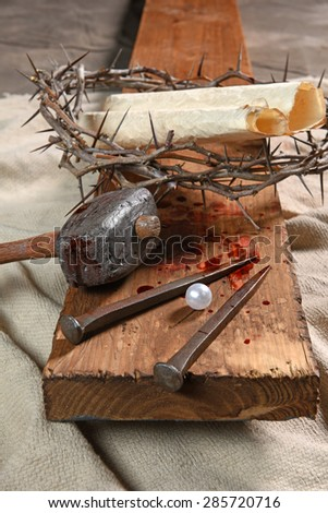 Cross with nails, crown of thorns and the pearl of great price from Matthew 13:45-46 parable