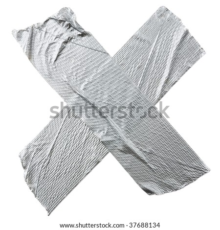 Crossed duct tape strips isolated on white background - stock photo
