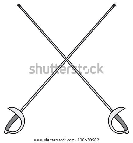 crossed fencing swords - stock photo