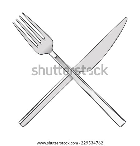 Crossed Fork and Knife isolated on a white background. Cutlery concept. Colored hand drawn line art. Retro design. Raster copy. - stock photo