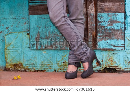 Crossed legs and Great Shoes - stock photo