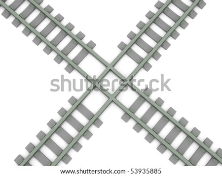 Crossed railroad isolated on white background. High quality 3d render. - stock photo