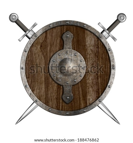 Crossed swords and wooden round shield isolated - stock photo