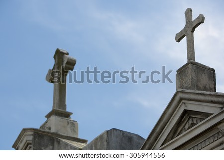 Crosses in La Recoleta Cemetery, a famous cemetery located in the exclusive Recoleta neighborhood of Buenos Aires, Argentina. It contains the graves of notable people. - stock photo