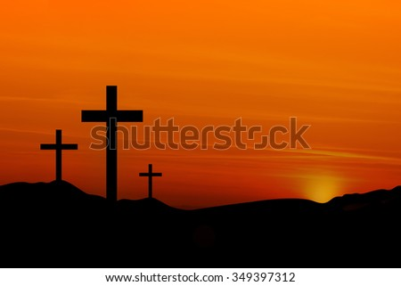 Crosses in the Sunset - stock photo