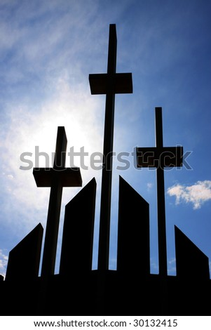 Crosses on church facade - stock photo