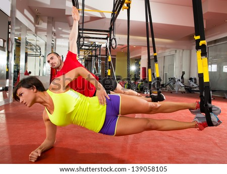 crossfit fitness trx training exercises gym stock photo