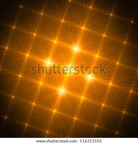 Crossing glowing yellow lines on black background. Abstract illustration. - stock photo