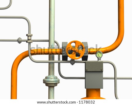 Crossing pipes system, white background. CG illustration. - stock photo