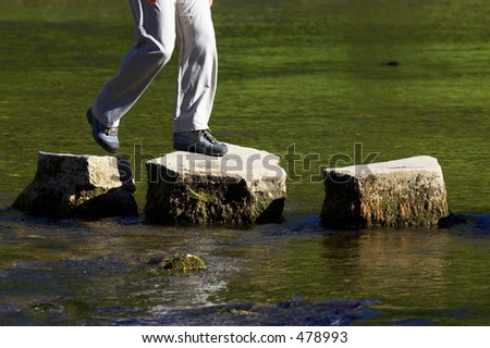 crossing three stepping stones in a river