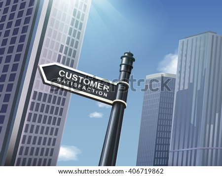 crossroad 3d black road sign saying customer satisfaction