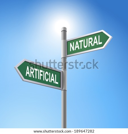 crossroad 3d road sign saying artificial and natural - stock photo