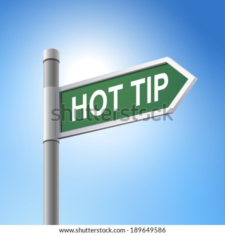 crossroad 3d road sign saying hot tip - stock photo