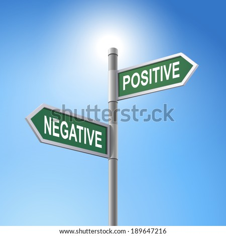 crossroad 3d road sign saying negative and positive - stock photo