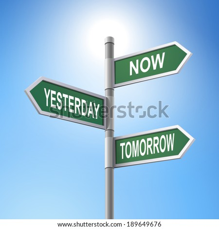 crossroad 3d road sign saying now and yesterday and tomorrow - stock photo
