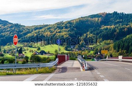 Crossroad in the Black Forest mountains. Germany, Baden-Wurttemberg - stock photo