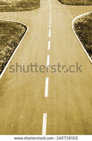 crossroad on the way - stock photo