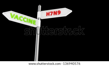 Crossroad pointer with new bird flu subtype virus or vaccine way - stock photo