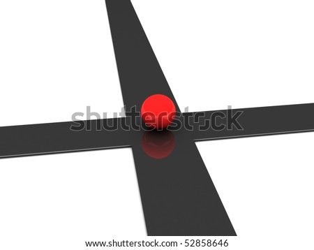 Crossroad. Red ball on crossroad isolated on white background. High quality 3d render. - stock photo