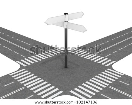 Crossroad with signpost - stock photo