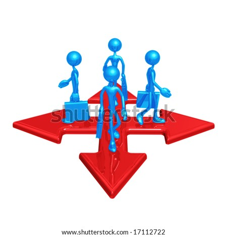 Crossroads Different Directions - stock photo