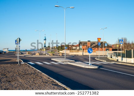 crossroads in a small city in Sweden - stock photo