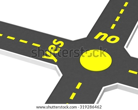 Crossroads of roads with inscription yes no - stock photo