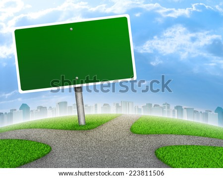 Crossroads road sign. City, green grass, fork in the way and sky as backdrop - stock photo