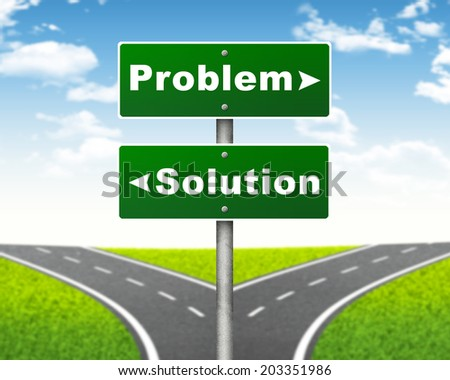 Crossroads road sign. Pointer to the right Problem, but Solution left. Choice concept - stock photo