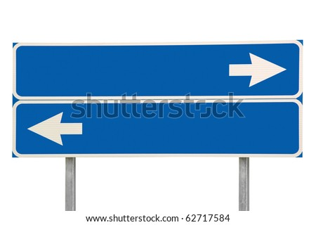 Crossroads Road Sign, Two Arrow Blue Isolated - stock photo